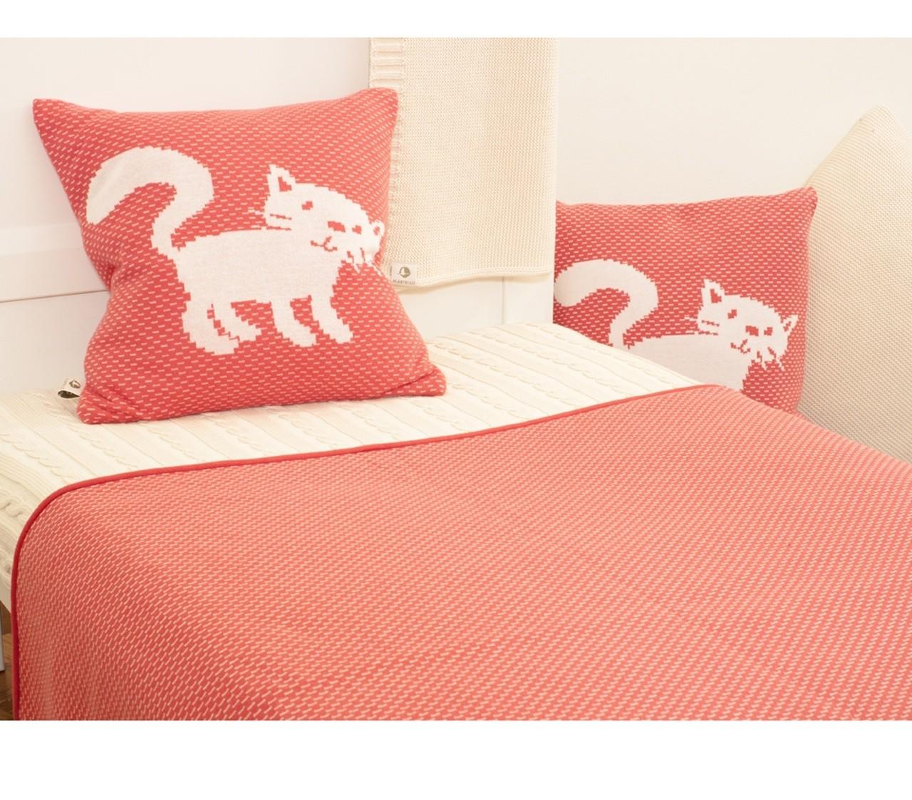 wendedecke und kissen mit katze biobaumwolle kba mandarine. Black Bedroom Furniture Sets. Home Design Ideas