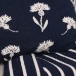 Tagesdecke gestreift Kornblumen Kissen Bio-Baumwolle GOTS-zertifiziert