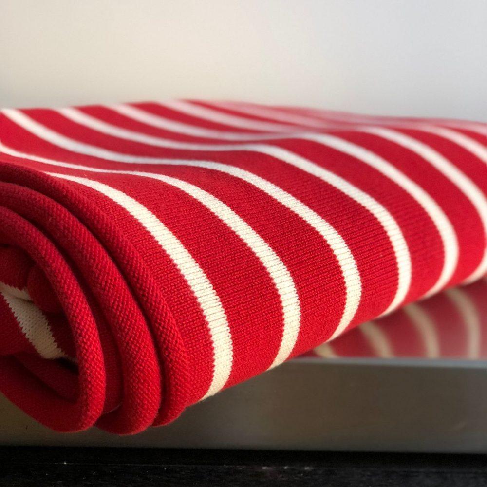 Tagesdecke gestreift rot-weiß